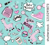 fashion patch badges with girl... | Shutterstock .eps vector #1215295873