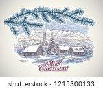 festive winter countryside... | Shutterstock .eps vector #1215300133