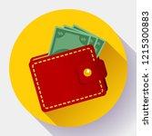 red wallet vector icon flat...   Shutterstock .eps vector #1215300883