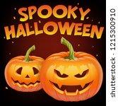 spooky halloween banner with...   Shutterstock .eps vector #1215300910