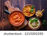 pumpkin hummus red pepper...   Shutterstock . vector #1215302350