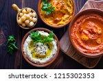 pumpkin hummus red pepper...   Shutterstock . vector #1215302353