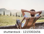 enjoying life. young man... | Shutterstock . vector #1215302656