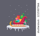 pixel art christmas sledge with ... | Shutterstock .eps vector #1215307366
