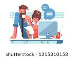 two colleagues working together ... | Shutterstock .eps vector #1215310153