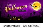 happy halloween banner pumpkin...   Shutterstock .eps vector #1215314053