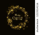 gold circle snowflake frame... | Shutterstock .eps vector #1215314116