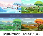 four seasons of village view ... | Shutterstock .eps vector #1215314203