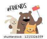 three happy animal friends... | Shutterstock .eps vector #1215326359