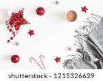 christmas red decorations ... | Shutterstock . vector #1215326629
