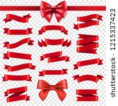 red ribbon and bow transparent... | Shutterstock .eps vector #1215337423