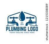 plumbing logo template with... | Shutterstock .eps vector #1215338089