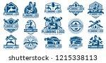 15 plumbing logo template pack  ... | Shutterstock .eps vector #1215338113