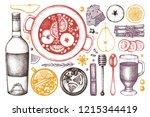 mulled wine ingredients set.... | Shutterstock .eps vector #1215344419