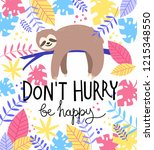 Card Print With Cute Sloth ...
