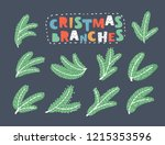 green christmas fir branches.... | Shutterstock .eps vector #1215353596
