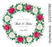 romantic  wreath of flowers ...   Shutterstock .eps vector #1215355780
