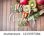 fruit bouquet with exotic... | Shutterstock . vector #1215357286