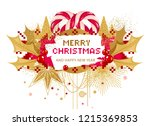 christmas card with holly and... | Shutterstock .eps vector #1215369853