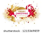 christmas card with holly and... | Shutterstock .eps vector #1215369859