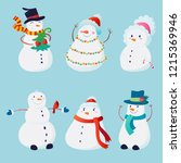 cute set with snowmen with... | Shutterstock .eps vector #1215369946