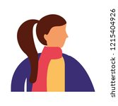 woman side view with winter... | Shutterstock .eps vector #1215404926