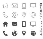 contacts vector icons outline... | Shutterstock .eps vector #1215408943