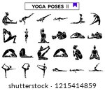 yoga poses icon set. | Shutterstock .eps vector #1215414859