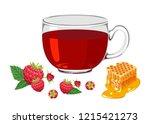raspberry and honey tea in... | Shutterstock .eps vector #1215421273