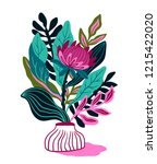 protea with tropical leaf on... | Shutterstock .eps vector #1215422020