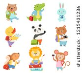 cute cartoon animals traveling... | Shutterstock .eps vector #1215431236
