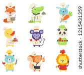 cute animals in chef uniform... | Shutterstock .eps vector #1215431359