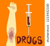drugs  struggle with unhealthy... | Shutterstock .eps vector #1215432100