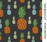 pineapple tropical seamless... | Shutterstock .eps vector #1215438196