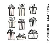 gift icon set. color simple... | Shutterstock .eps vector #1215443413