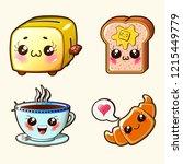 kawaii cute set   toaster ...   Shutterstock .eps vector #1215449779