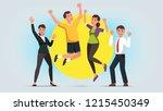 cheerful men and women wearing... | Shutterstock .eps vector #1215450349