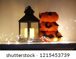 halloween pumpkin and decor | Shutterstock . vector #1215453739