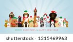 group of dogs wearing christmas ... | Shutterstock .eps vector #1215469963