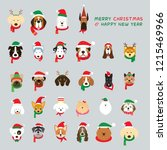 head of dogs wearing christmas... | Shutterstock .eps vector #1215469966