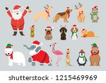 Stock vector santa claus and animals wearing christmas costume winter and new year celebration 1215469969