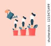 hand watering women in... | Shutterstock .eps vector #1215471499