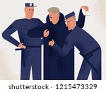 two policemen dressed in... | Shutterstock .eps vector #1215473329