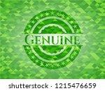 genuine green emblem with... | Shutterstock .eps vector #1215476659