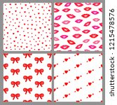 seamless patterns set with red... | Shutterstock .eps vector #1215478576