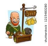 cartoon old bald monk character ... | Shutterstock .eps vector #1215483280