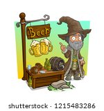 cartoon old alcoholic homeless... | Shutterstock .eps vector #1215483286