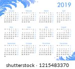 2019 annual calendar with... | Shutterstock .eps vector #1215483370