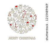 christmas color icon set round... | Shutterstock .eps vector #1215489469