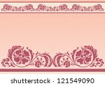 horizontal floral frame in pink ... | Shutterstock .eps vector #121549090